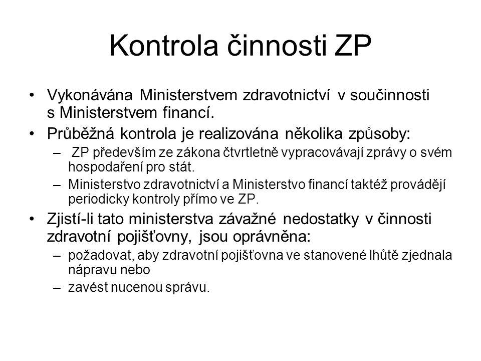 Kontrola činnosti ZP Vykonávána Ministerstvem zdravotnictví v součinnosti s Ministerstvem financí. Průběžná kontrola je realizována několika způsoby: