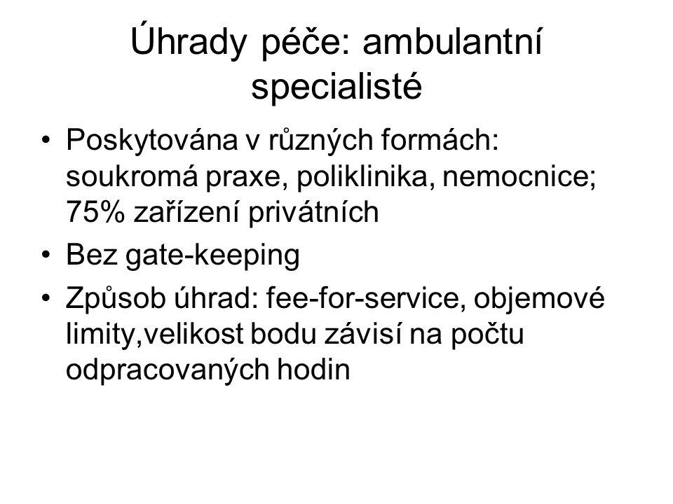 Úhrady péče: ambulantní specialisté Poskytována v různých formách: soukromá praxe, poliklinika, nemocnice; 75% zařízení privátních Bez gate-keeping Zp