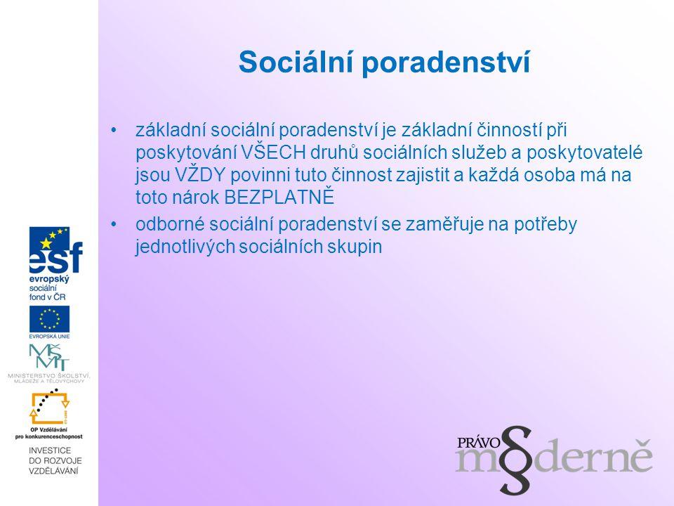 Sociální poradenství základní sociální poradenství je základní činností při poskytování VŠECH druhů sociálních služeb a poskytovatelé jsou VŽDY povinn