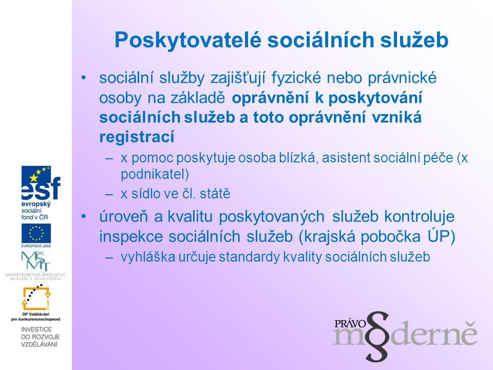 Poskytovatelé sociálních služeb sociální služby zajišťují fyzické nebo právnické osoby na základě oprávnění k poskytování sociálních služeb a toto opr