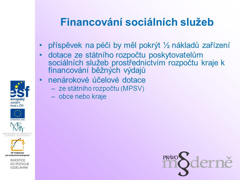 Financování sociálních služeb příspěvek na péči by měl pokrýt ½ nákladů zařízení dotace ze státního rozpočtu poskytovatelům sociálních služeb prostřed
