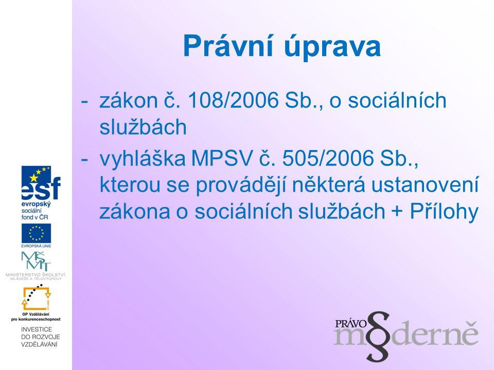 Právní úprava -zákon č. 108/2006 Sb., o sociálních službách -vyhláška MPSV č. 505/2006 Sb., kterou se provádějí některá ustanovení zákona o sociálních