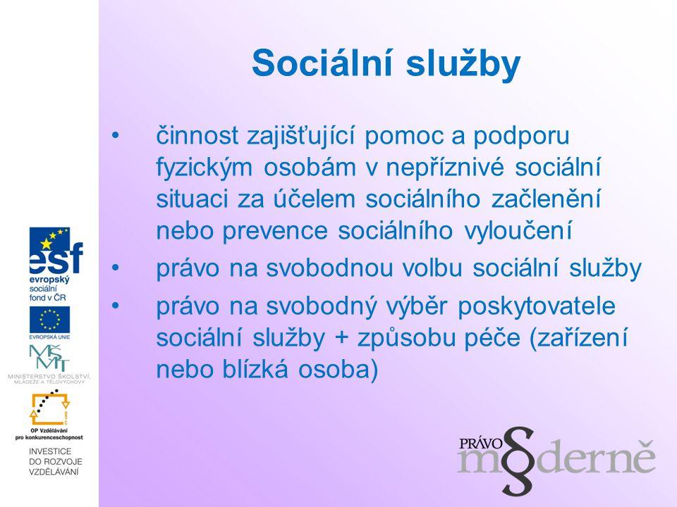 Sociální služby činnost zajišťující pomoc a podporu fyzickým osobám v nepříznivé sociální situaci za účelem sociálního začlenění nebo prevence sociáln