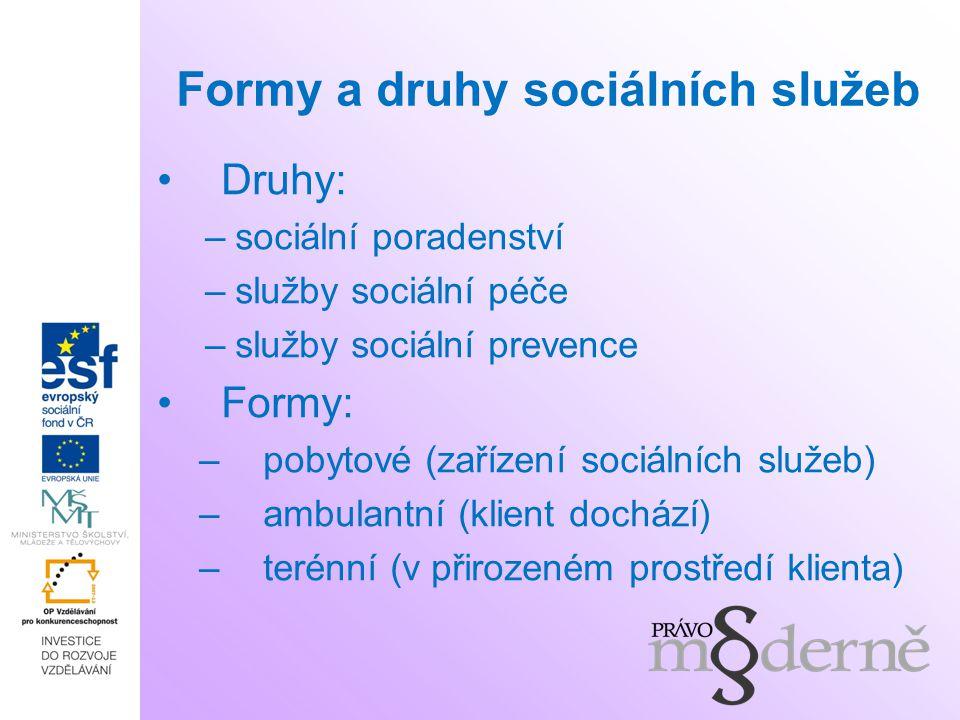 Formy a druhy sociálních služeb Druhy: –sociální poradenství –služby sociální péče –služby sociální prevence Formy: –pobytové (zařízení sociálních slu