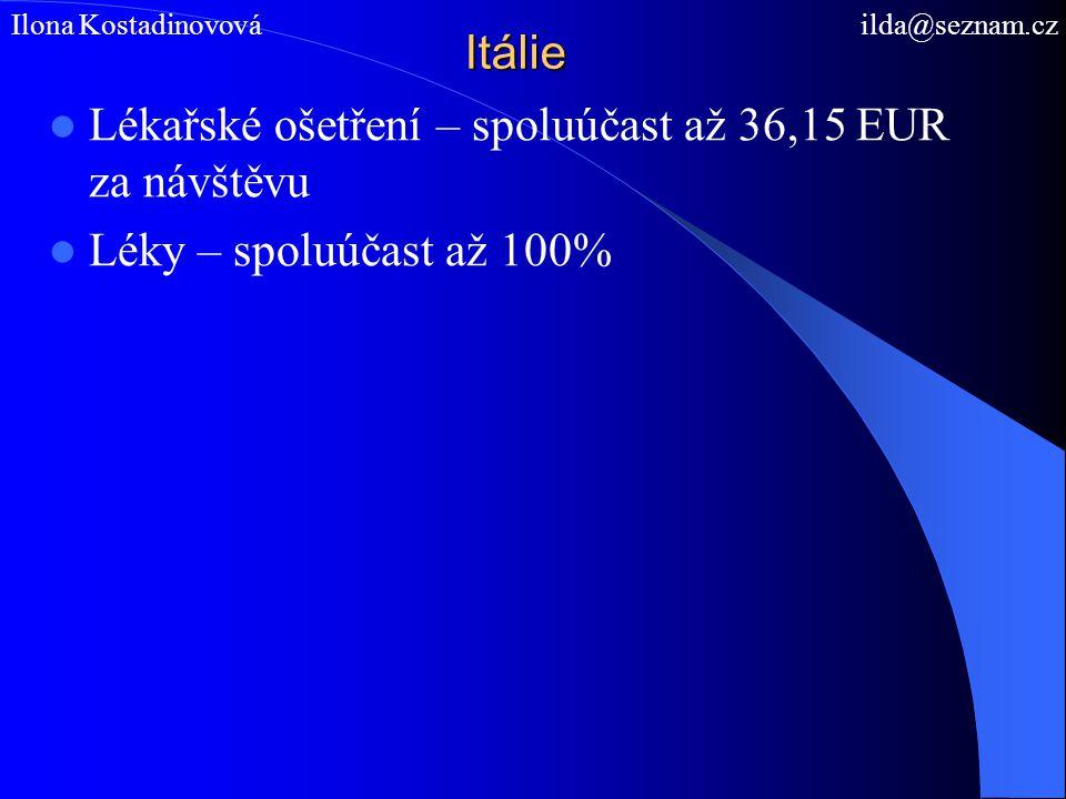 Itálie Lékařské ošetření – spoluúčast až 36,15 EUR za návštěvu Léky – spoluúčast až 100% Ilona Kostadinovová ilda@seznam.cz