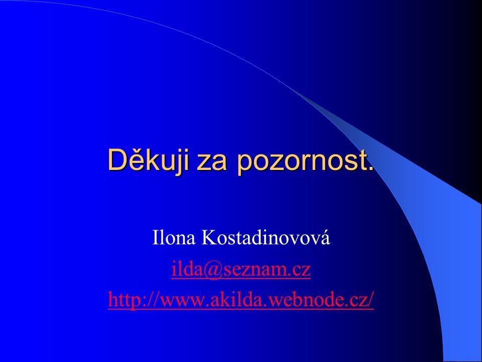 Děkuji za pozornost. Ilona Kostadinovová ilda@seznam.cz http://www.akilda.webnode.cz/