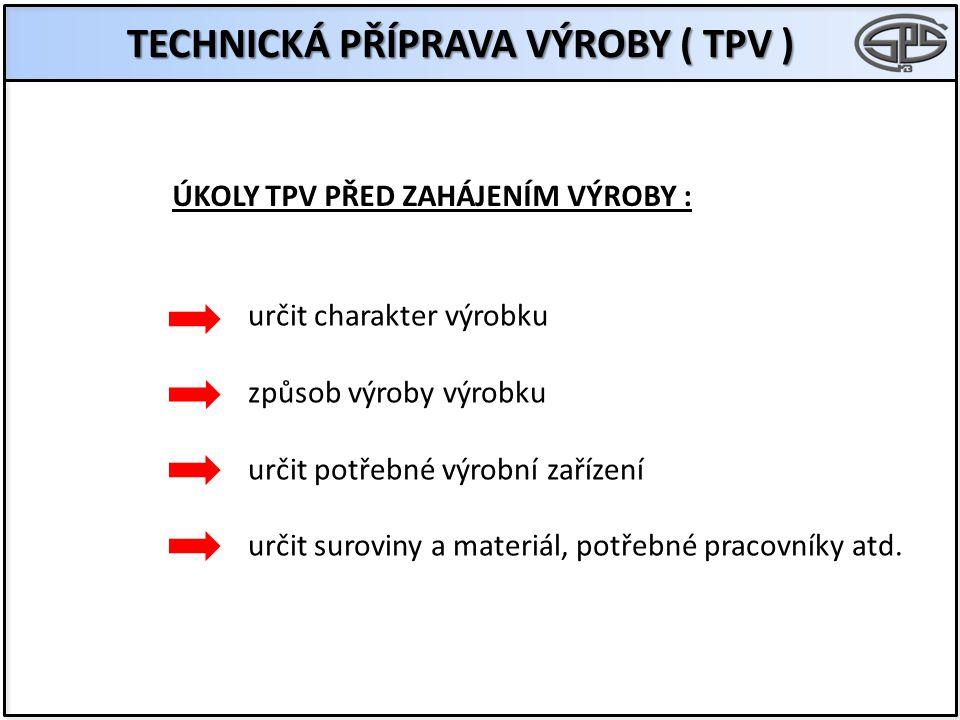 ÚKOLY TPV PŘED ZAHÁJENÍM VÝROBY : TECHNICKÁ PŘÍPRAVA VÝROBY ( TPV ) určit charakter výrobku způsob výroby výrobku určit potřebné výrobní zařízení urči