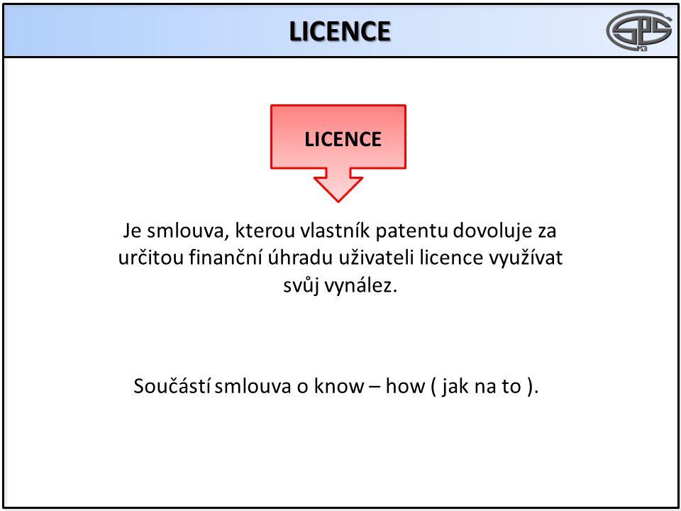 Je smlouva, kterou vlastník patentu dovoluje za určitou finanční úhradu uživateli licence využívat svůj vynález. LICENCE LICENCE Součástí smlouva o kn