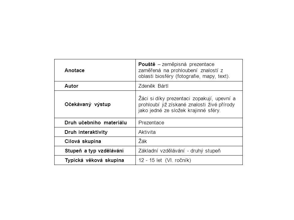 Anotace Pouště – zeměpisná prezentace zaměřená na prohloubení znalostí z oblasti biosféry (fotografie, mapy, text).