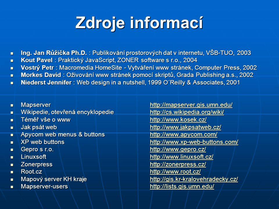 Ing. Jan Růžička Ph.D. : Publikování prostorových dat v internetu, VŠB-TUO, 2003 Ing.