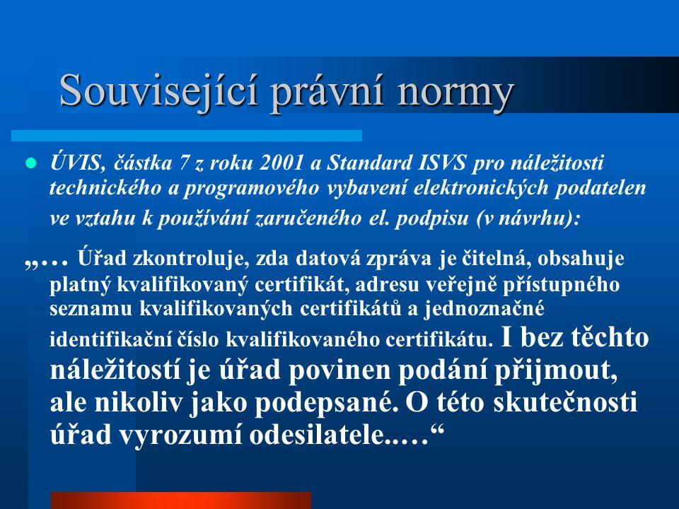 Související právní normy Nařízení vlády ze dne 25.7.2001 (č.304/2001 Sb.) a zákon č.227/2000 Sb.