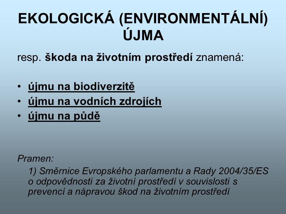 EKOLOGICKÁ (ENVIRONMENTÁLNÍ) ÚJMA Újma na biodiverzitě je jakákoliv újma mající vážné nepříznivé efekty na stav ochrany biodiverzity (přírodní stanoviště a rostlinné a živočišné druhy)