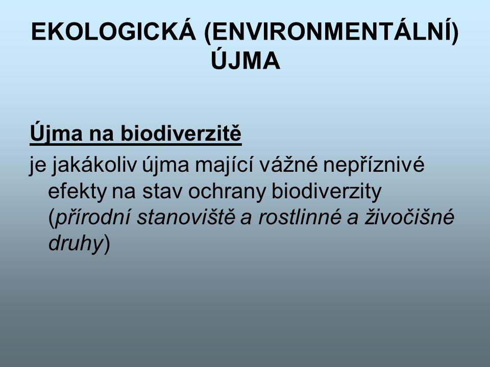 EKOLOGICKÁ (ENVIRONMENTÁLNÍ) ÚJMA Újma na vodních zdrojích je jakákoliv újma, jež nepříznivě ovlivňuje ekologický stav, ekologický potenciál a/nebo chemický stav vod