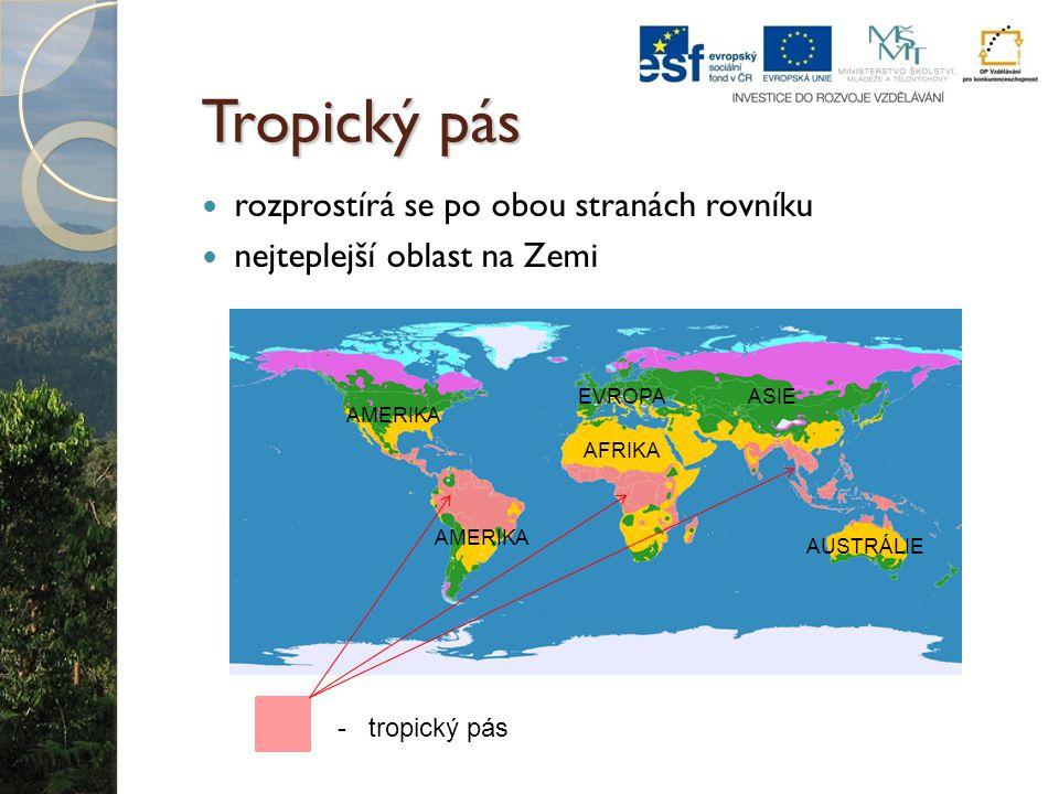 Tropický pás rozprostírá se po obou stranách rovníku nejteplejší oblast na Zemi - tropický pás AFRIKA ASIE AMERIKA AUSTRÁLIE EVROPA
