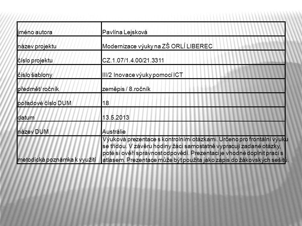 jméno autoraPavlína Lejsková název projektuModernizace výuky na ZŠ ORLÍ LIBEREC číslo projektuCZ.1.07/1.4.00/21.3311 číslo šablonyIII/2 Inovace výuky pomocí ICT předmět/ ročníkzeměpis / 8.ročník pořadové číslo DUM18 datum13.5.2013 název DUMAustrálie metodická poznámka k využití Výuková prezentace s kontrolními otázkami.