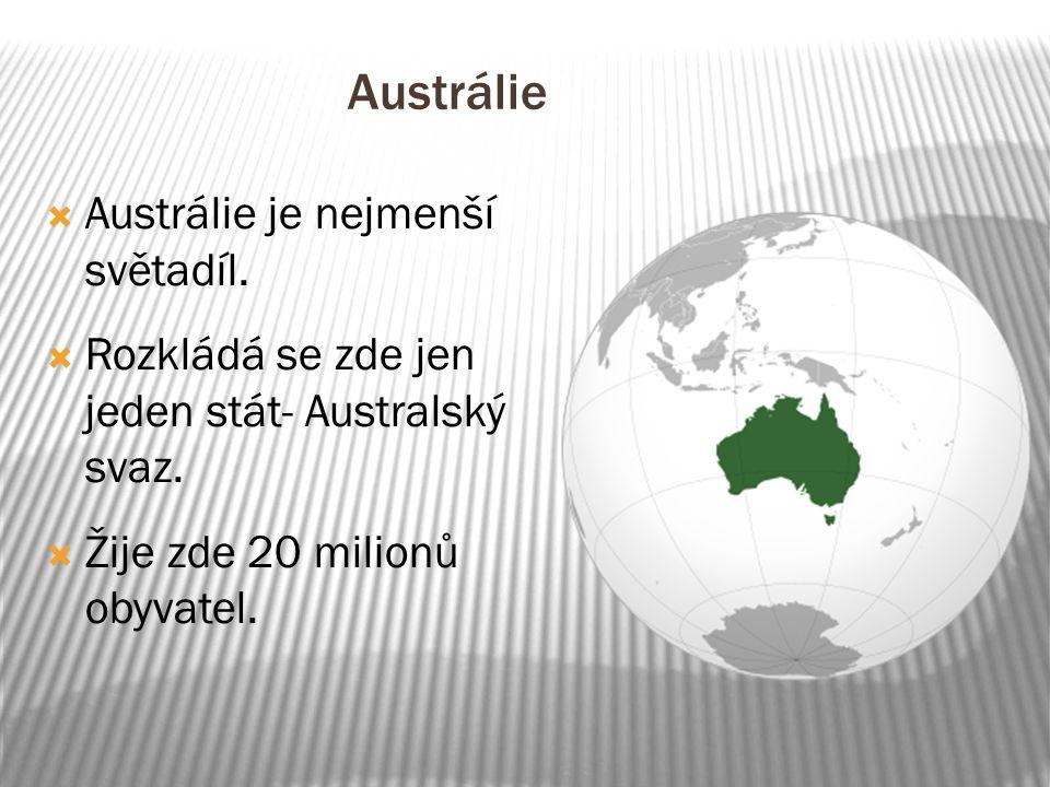 Austrálie  Austrálie je nejmenší světadíl.  Rozkládá se zde jen jeden stát- Australský svaz.  Žije zde 20 milionů obyvatel.