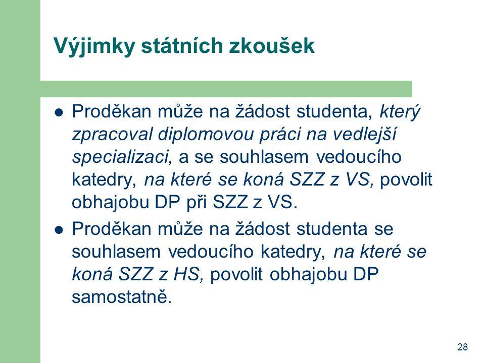 28 Výjimky státních zkoušek Proděkan může na žádost studenta, který zpracoval diplomovou práci na vedlejší specializaci, a se souhlasem vedoucího kate