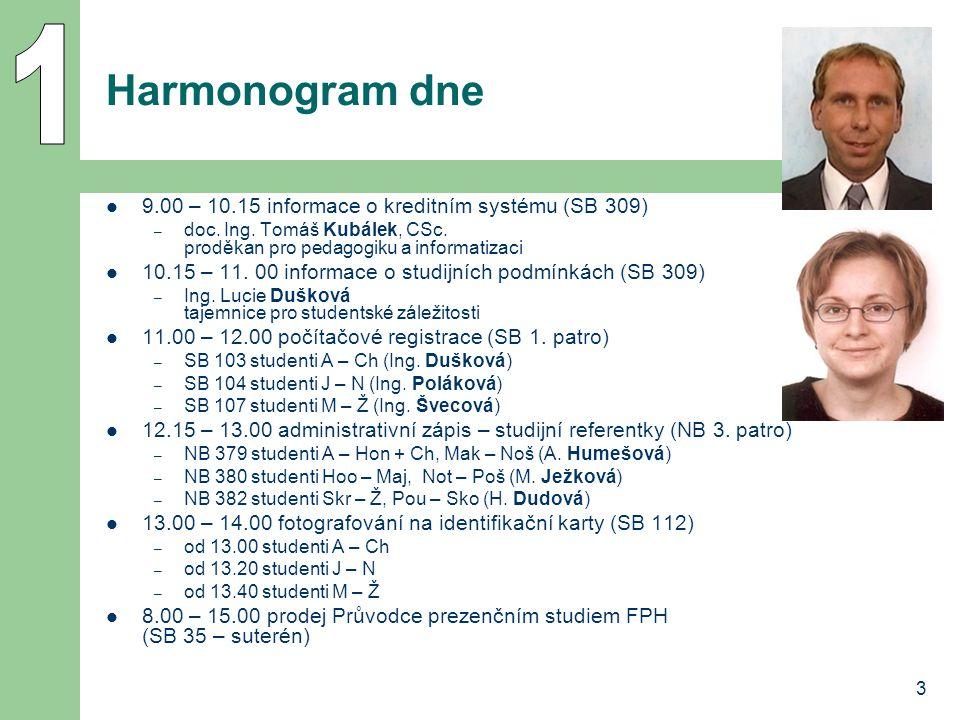 3 Harmonogram dne 9.00 – 10.15 informace o kreditním systému (SB 309) – doc. Ing. Tomáš Kubálek, CSc. proděkan pro pedagogiku a informatizaci 10.15 –