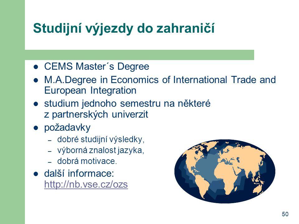 50 Studijní výjezdy do zahraničí CEMS Master´s Degree M.A.Degree in Economics of International Trade and European Integration studium jednoho semestru