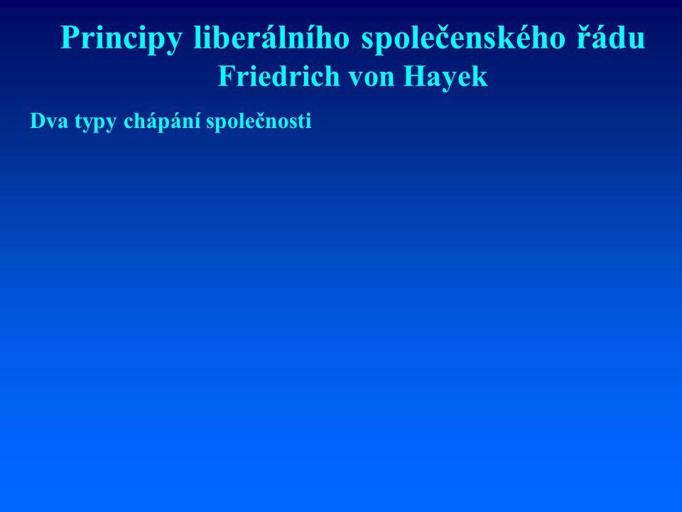Friedrich von Hayek 1899 – 1992 Politický filosof a ekonom rakouské školy V mládí byl ovlivněn fabiánským socializmem, později se stal obhájcem ekonomického liberalismu.