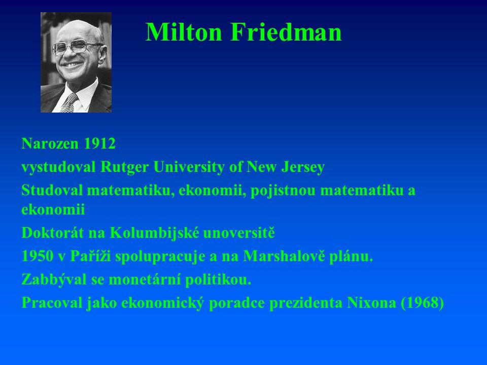 Milton Friedman Narozen 1912 vystudoval Rutger University of New Jersey Studoval matematiku, ekonomii, pojistnou matematiku a ekonomii Doktorát na Kolumbijské unoversitě 1950 v Paříži spolupracuje a na Marshalově plánu.