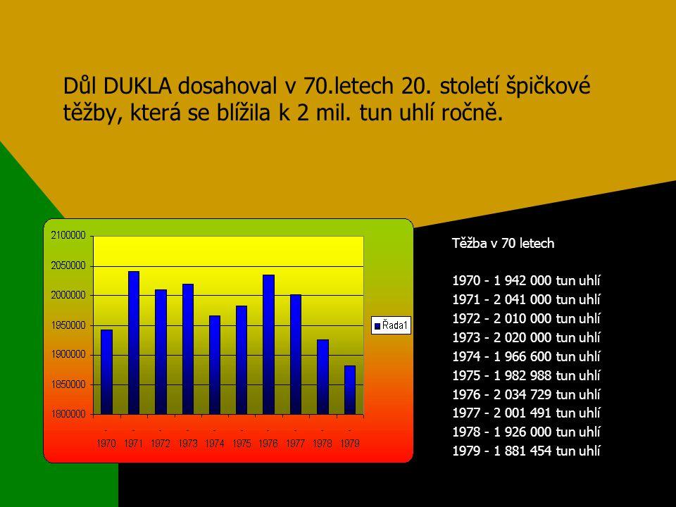 Těžba v 70 letech 1970 - 1 942 000 tun uhlí 1971 - 2 041 000 tun uhlí 1972 - 2 010 000 tun uhlí 1973 - 2 020 000 tun uhlí 1974 - 1 966 600 tun uhlí 1975 - 1 982 988 tun uhlí 1976 - 2 034 729 tun uhlí 1977 - 2 001 491 tun uhlí 1978 - 1 926 000 tun uhlí 1979 - 1 881 454 tun uhlí Důl DUKLA dosahoval v 70.letech 20.