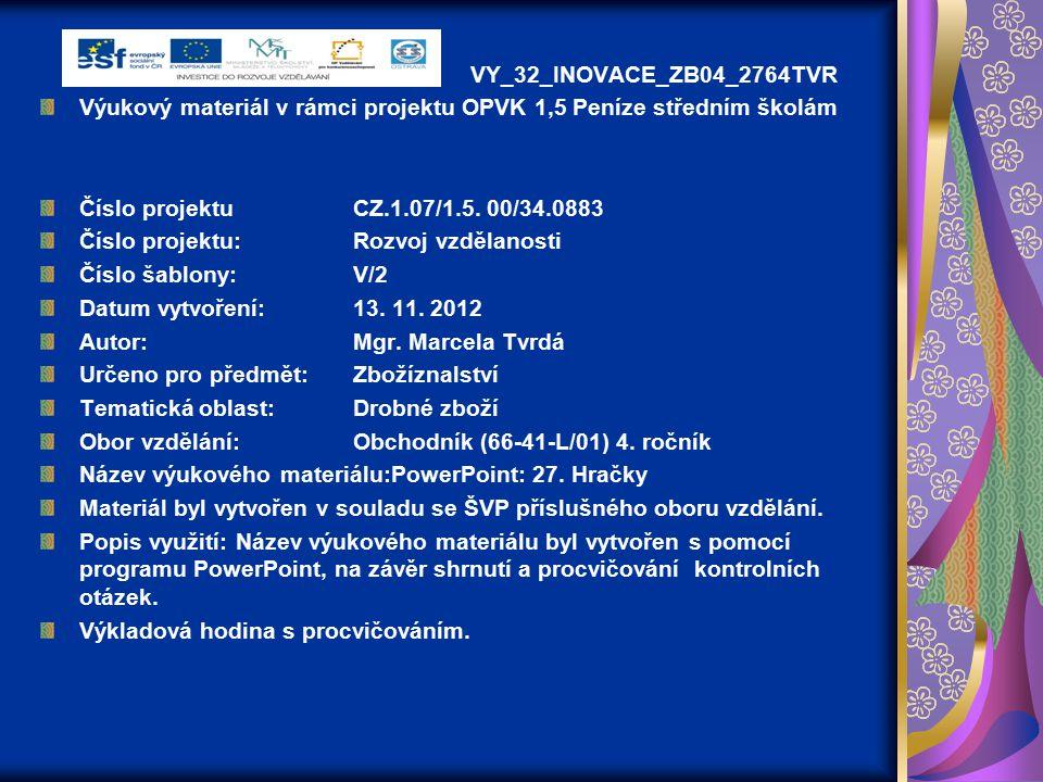VY_32_INOVACE_ZB04_2764TVR Výukový materiál v rámci projektu OPVK 1,5 Peníze středním školám Číslo projektuCZ.1.07/1.5.