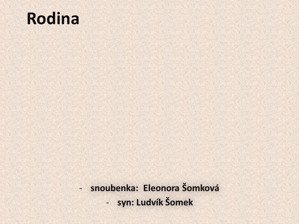 Rodina -snoubenka: Eleonora Šomková -syn: Ludvík Šomek -snoubenka: Eleonora Šomková -syn: Ludvík Šomek