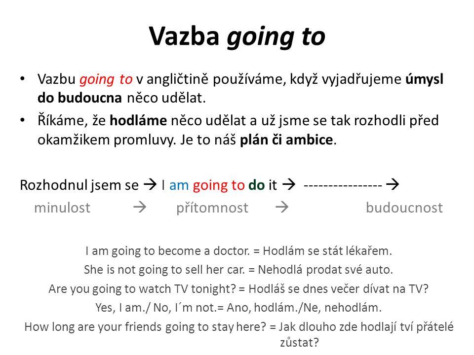 Vazbu going to v angličtině používáme, když vyjadřujeme úmysl do budoucna něco udělat. Říkáme, že hodláme něco udělat a už jsme se tak rozhodli před o