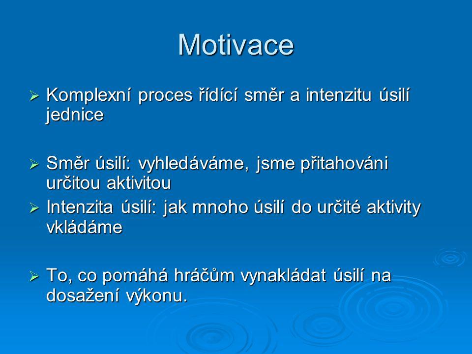 Motivační orientace  Zaměření cílů na proces (na úkol) na proces (na úkol) učení se dovednostemučení se dovednostem zvládnutí výzvyzvládnutí výzvy zlepšování vlastních schopností a dovednostízlepšování vlastních schopností a dovedností úspěch je přisuzován úsilíúspěch je přisuzován úsilí problém: zaměření na jeho řešeníproblém: zaměření na jeho řešení na výsledek (na vlastní ego) na výsledek (na vlastní ego) porazit druhéporazit druhé úspěch je přisuzován talentu (schopnostem)úspěch je přisuzován talentu (schopnostem) problém: zaměření na zvládání emocíproblém: zaměření na zvládání emocí .