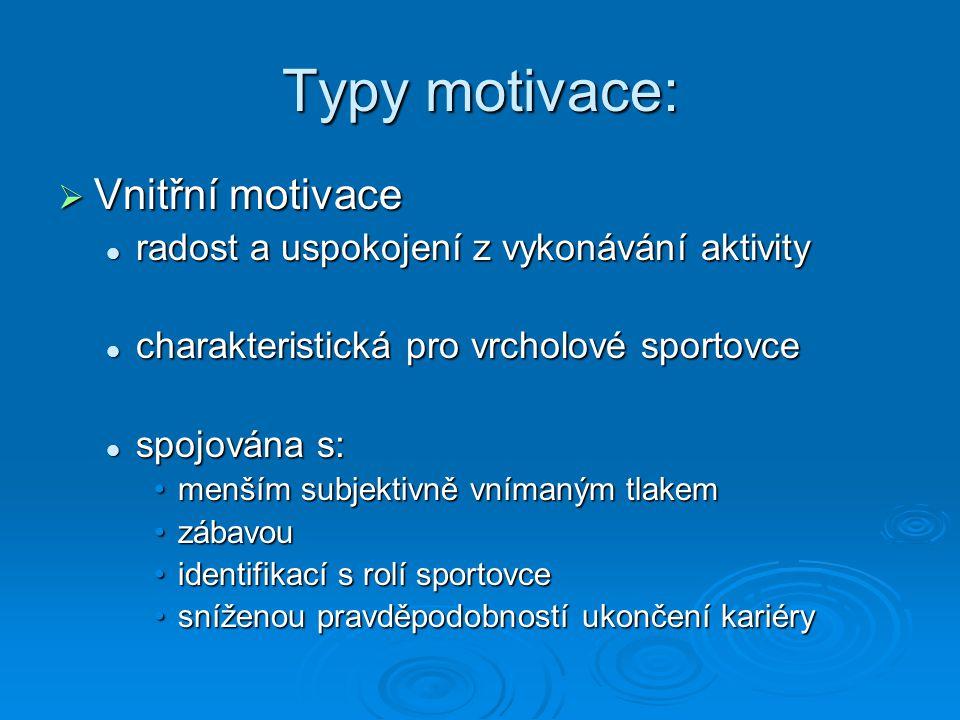 Typy motivace:  Vnější motivace dělám to kvůli vnějším podnětům… dělám to kvůli vnějším podnětům… spojována s: spojována s: zvýšenou úzkostízvýšenou úzkostí zvýšenou pravděpodobností ukončení kariéryzvýšenou pravděpodobností ukončení kariéry