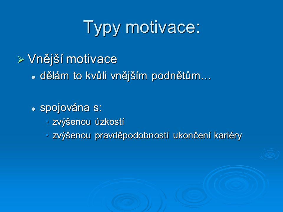 Typy motivace:  Vnější motivace dělám to kvůli vnějším podnětům… dělám to kvůli vnějším podnětům… spojována s: spojována s: zvýšenou úzkostízvýšenou