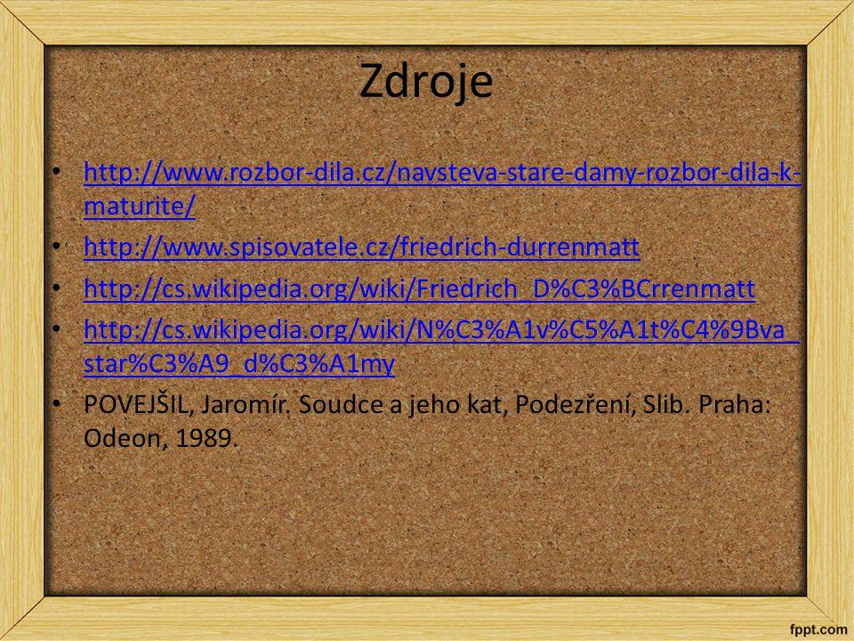 Zdroje http://www.rozbor-dila.cz/navsteva-stare-damy-rozbor-dila-k- maturite/ http://www.rozbor-dila.cz/navsteva-stare-damy-rozbor-dila-k- maturite/ h
