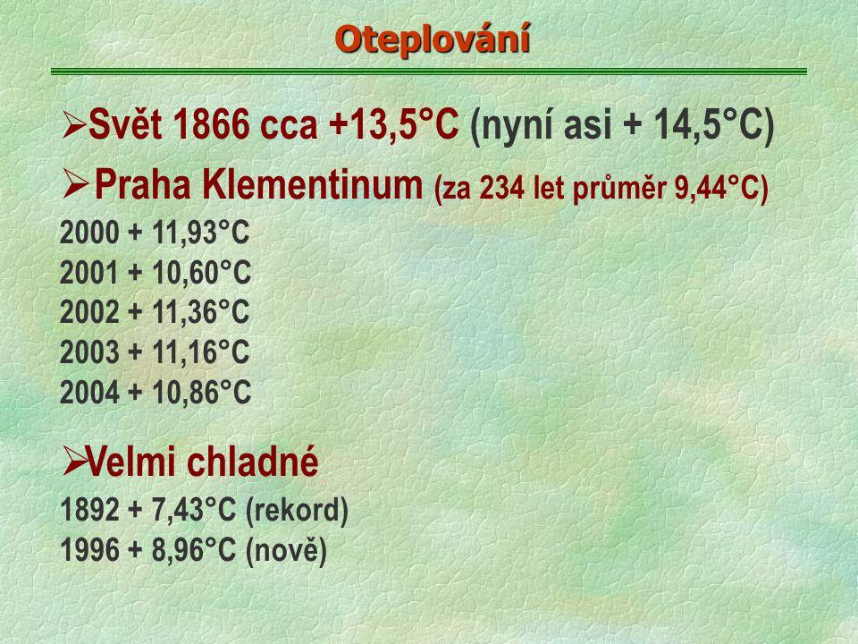 Oteplování  Svět 1866 cca +13,5°C (nyní asi + 14,5°C)  Praha Klementinum (za 234 let průměr 9,44°C) 2000 + 11,93°C 2001 + 10,60°C 2002 + 11,36°C 2003 + 11,16°C 2004 + 10,86°C  Velmi chladné 1892 + 7,43°C (rekord) 1996 + 8,96°C (nově)