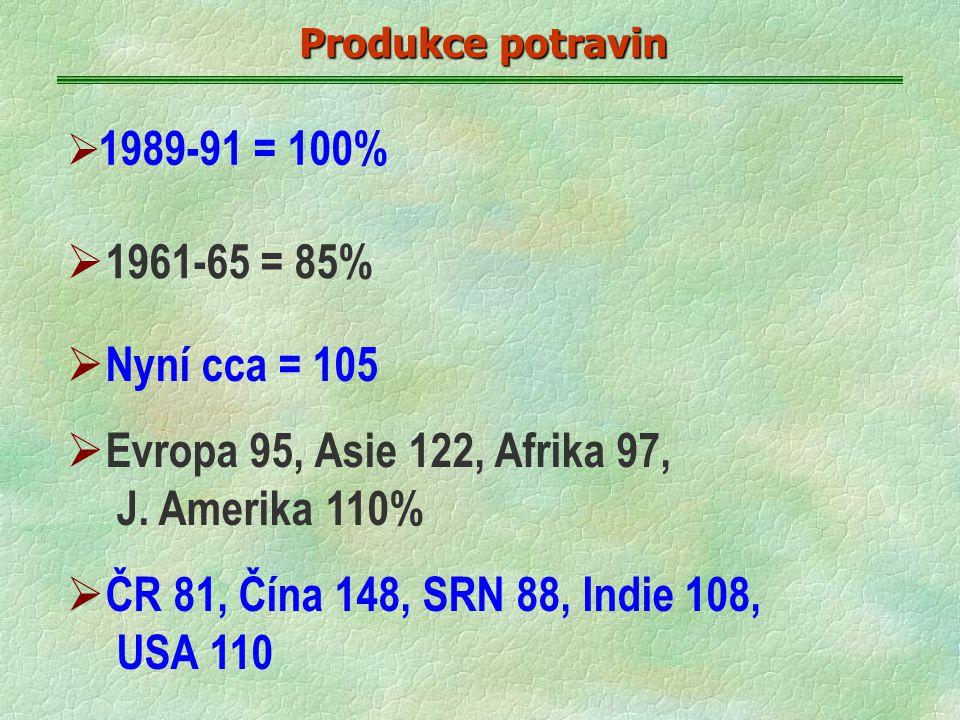 Produkce potravin  1989-91 = 100%  1961-65 = 85%  Nyní cca = 105  Evropa 95, Asie 122, Afrika 97, J.