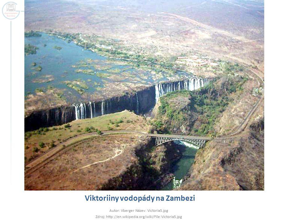 Viktoriiny vodopády na Zambezi Autor: Vberger Název: Victoria5.jpg Zdroj: http://en.wikipedia.org/wiki/File:Victoria5.jpg