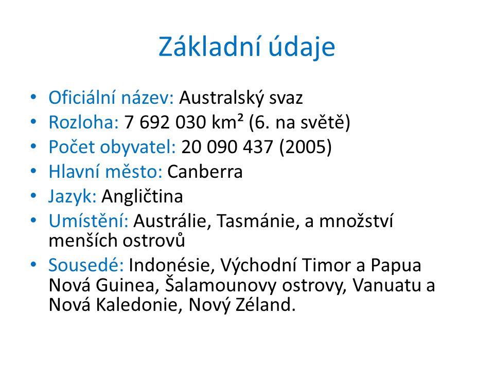 Základní údaje Oficiální název: Australský svaz Rozloha: 7 692 030 km² (6. na světě) Počet obyvatel: 20 090 437 (2005) Hlavní město: Canberra Jazyk: A