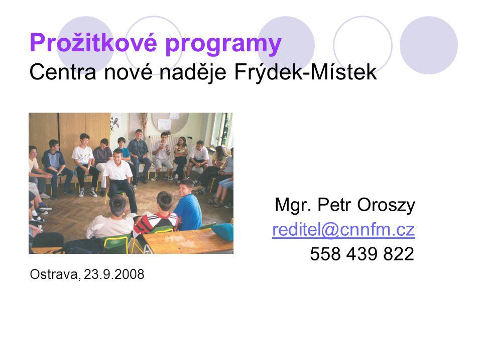 Prožitkové programy Centra nové naděje Frýdek-Místek Mgr. Petr Oroszy reditel@cnnfm.cz 558 439 822 Ostrava, 23.9.2008