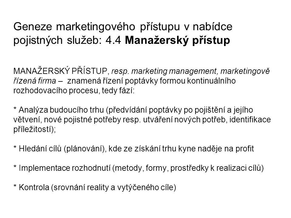 Geneze marketingového přístupu v nabídce pojistných služeb: 4.4 Manažerský přístup MANAŽERSKÝ PŘÍSTUP, resp.