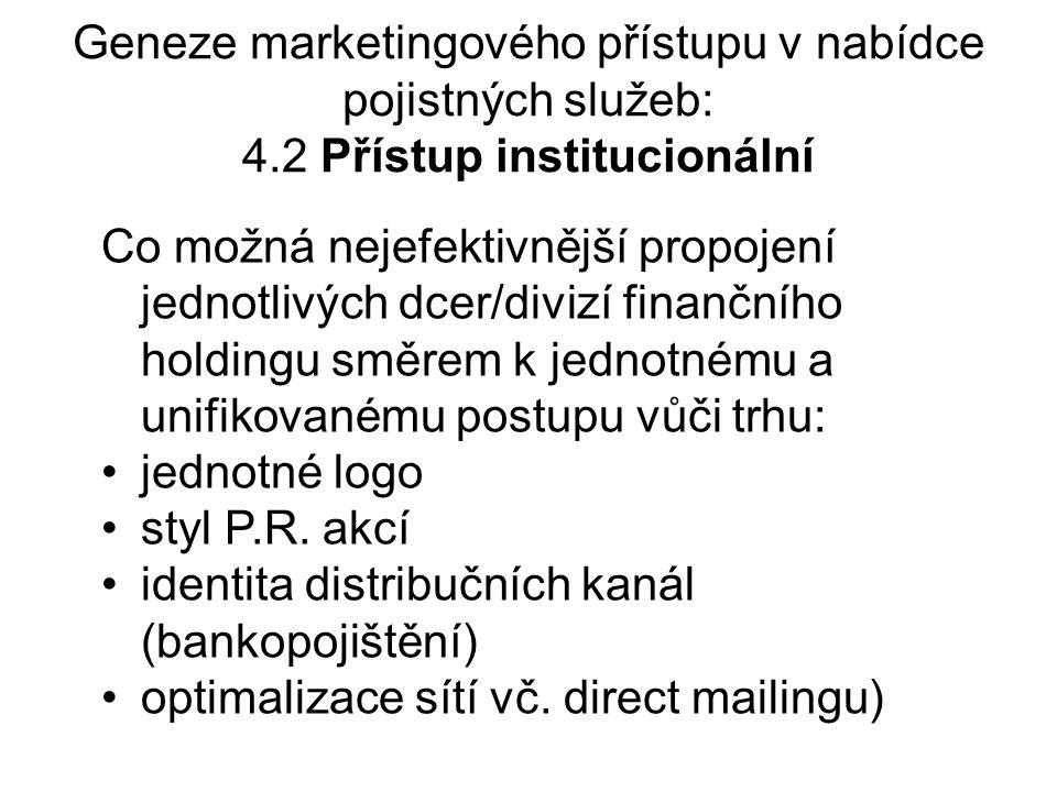 Geneze marketingového přístupu v nabídce pojistných služeb: 4.2 Přístup institucionální Co možná nejefektivnější propojení jednotlivých dcer/divizí finančního holdingu směrem k jednotnému a unifikovanému postupu vůči trhu: jednotné logo styl P.R.