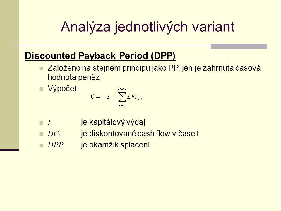 Analýza jednotlivých variant Discounted Payback Period (DPP) Založeno na stejném principu jako PP, jen je zahrnuta časová hodnota peněz Výpočet: I je