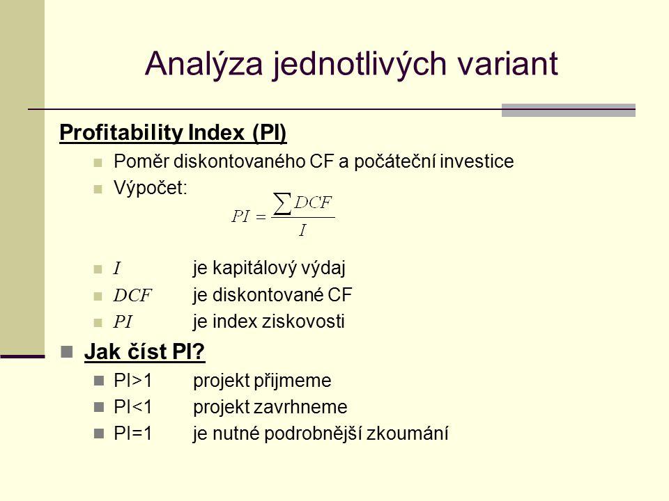 Analýza jednotlivých variant Profitability Index (PI) Poměr diskontovaného CF a počáteční investice Výpočet: I je kapitálový výdaj DCF je diskontované