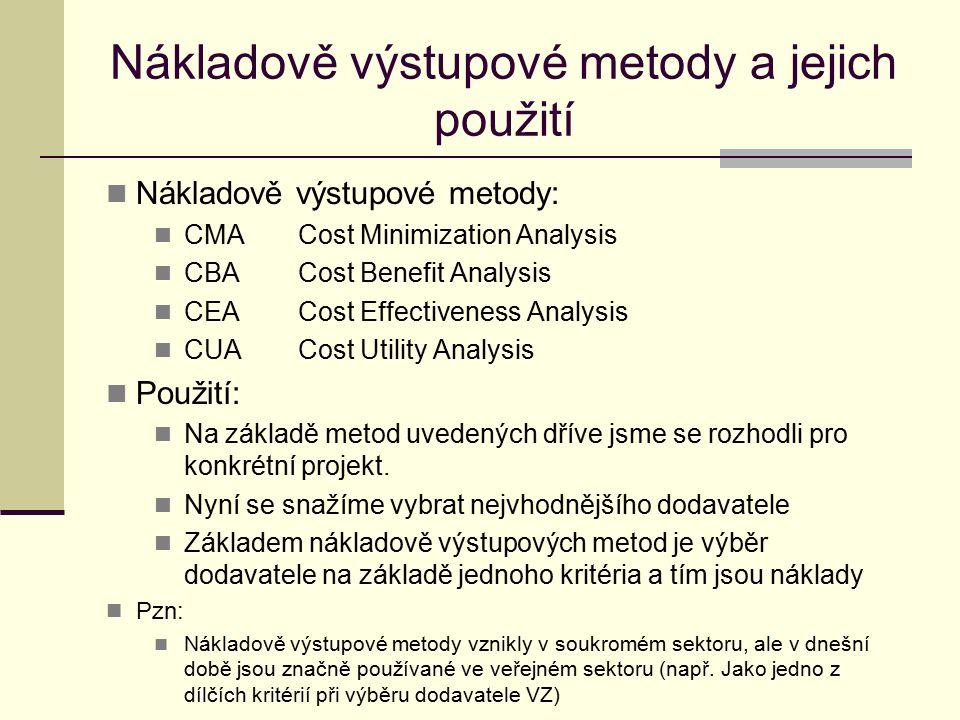 Nákladově výstupové metody a jejich použití Nákladově výstupové metody: CMACost Minimization Analysis CBACost Benefit Analysis CEACost Effectiveness A