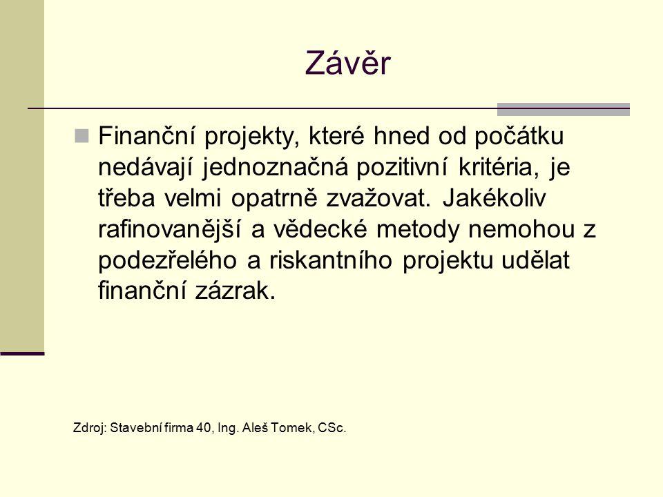 Závěr Finanční projekty, které hned od počátku nedávají jednoznačná pozitivní kritéria, je třeba velmi opatrně zvažovat. Jakékoliv rafinovanější a věd