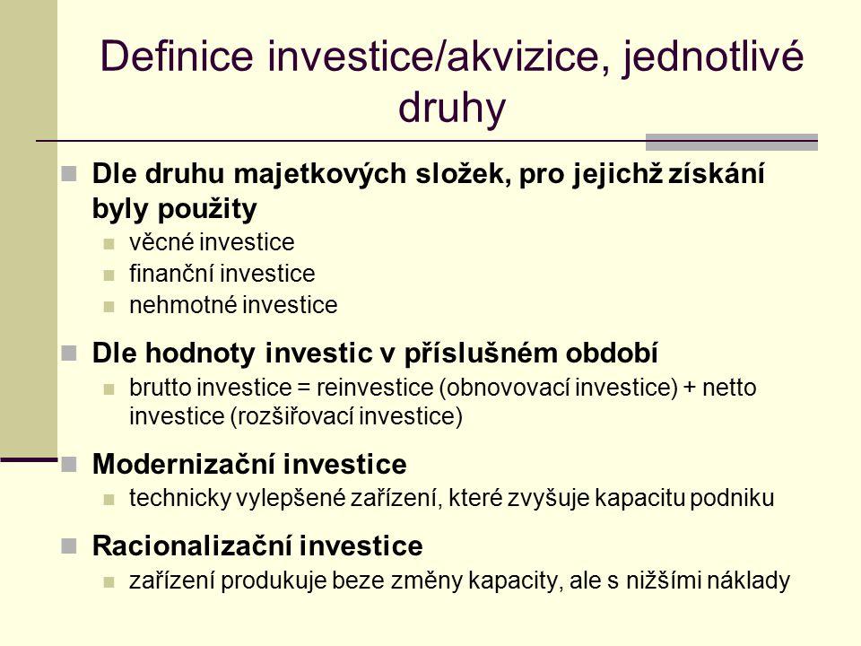 Definice investice/akvizice, jednotlivé druhy Dle druhu majetkových složek, pro jejichž získání byly použity věcné investice finanční investice nehmot