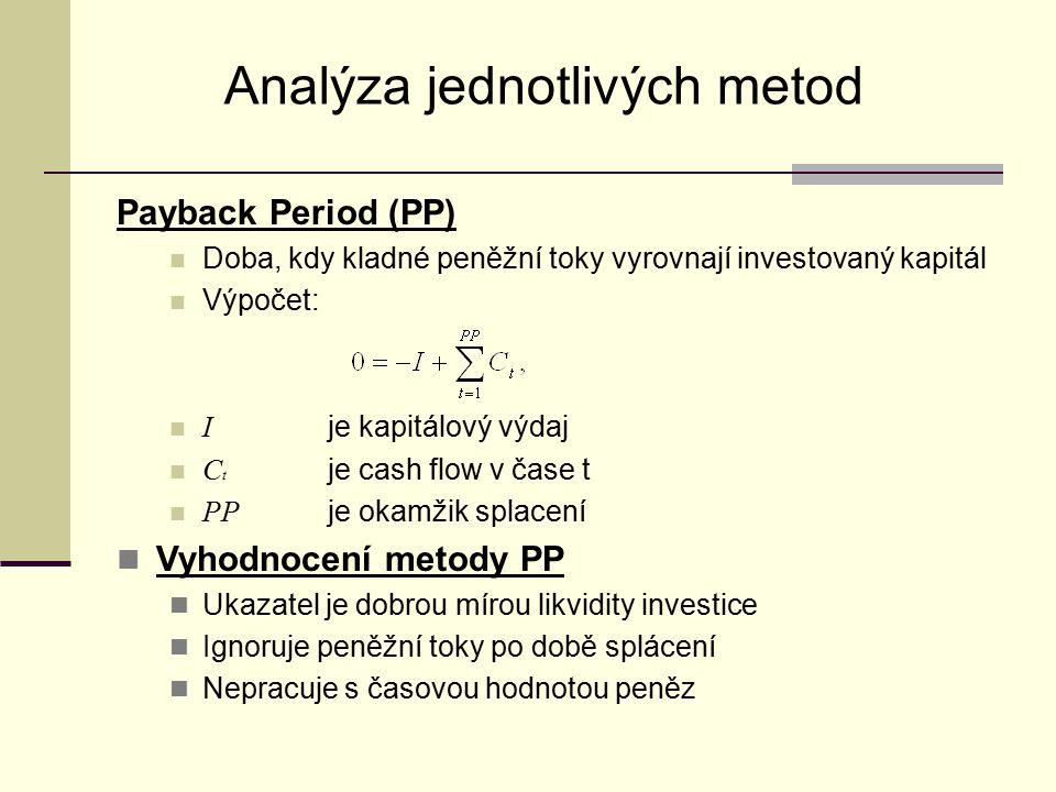 Analýza jednotlivých metod Payback Period (PP) Doba, kdy kladné peněžní toky vyrovnají investovaný kapitál Výpočet: I je kapitálový výdaj C t je cash