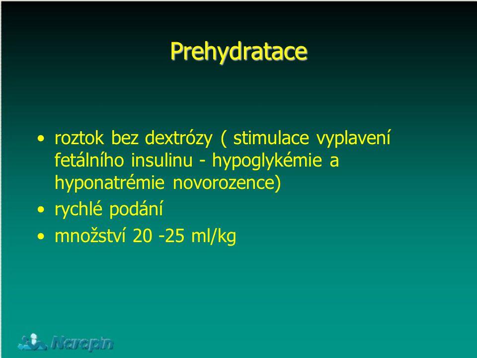 Prehydratace roztok bez dextrózy ( stimulace vyplavení fetálního insulinu - hypoglykémie a hyponatrémie novorozence) rychlé podání množství 20 -25 ml/