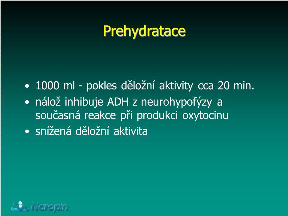 1000 ml - pokles děložní aktivity cca 20 min. nálož inhibuje ADH z neurohypofýzy a současná reakce při produkci oxytocinu snížená děložní aktivita Pre