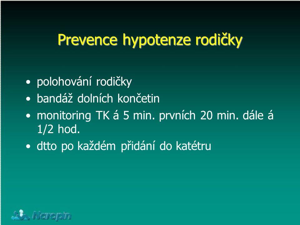 Prevence hypotenze rodičky polohování rodičky bandáž dolních končetin monitoring TK á 5 min. prvních 20 min. dále á 1/2 hod. dtto po každém přidání do