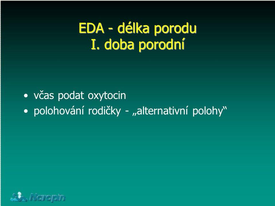 """EDA - délka porodu I. doba porodní včas podat oxytocin polohování rodičky - """"alternativní polohy"""""""